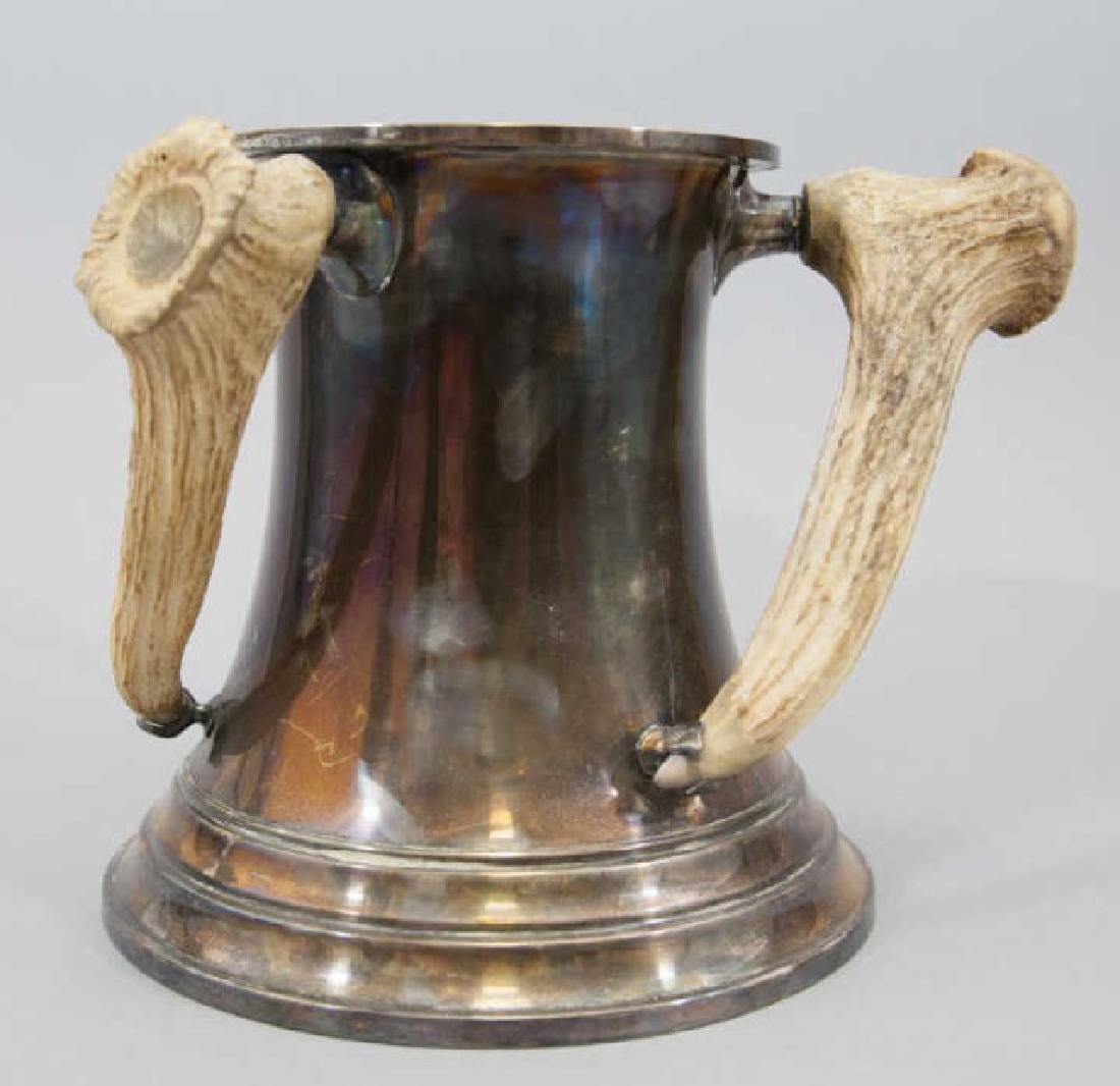 Antique Tyg Loving Cup Trophy w 3 Antler Handles
