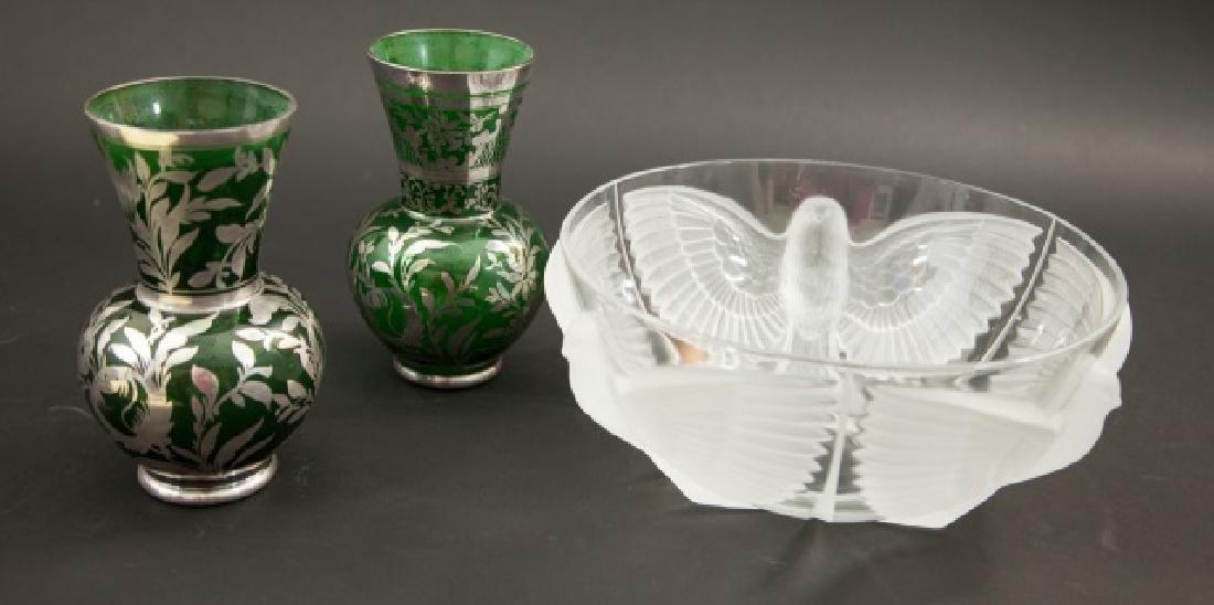 Pair Silver Overlay Art Glass Green Vases & Bowl