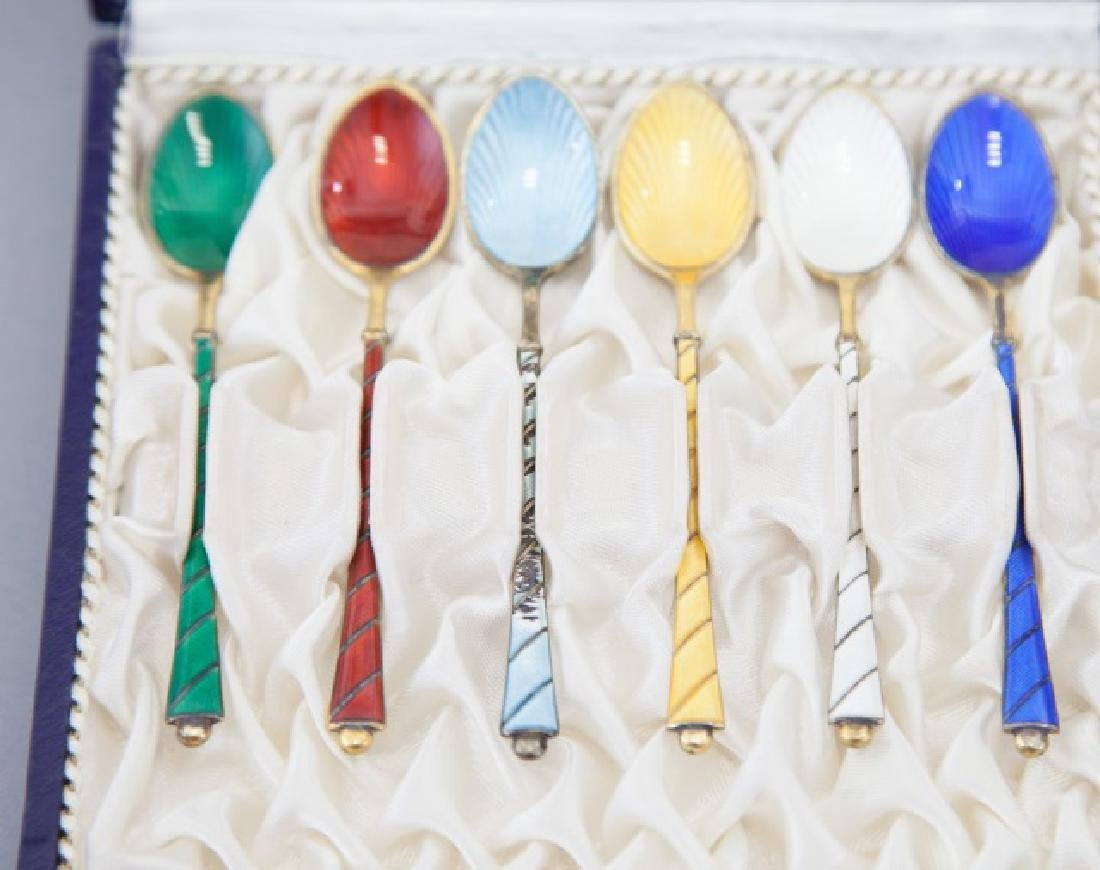 Box Danish Sterling & Enamel Demi-Tasse Spoons