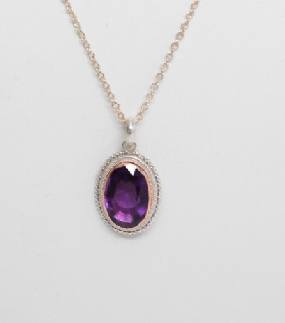Estate 22kt Yellow Gold Sterling Amethyst Necklace