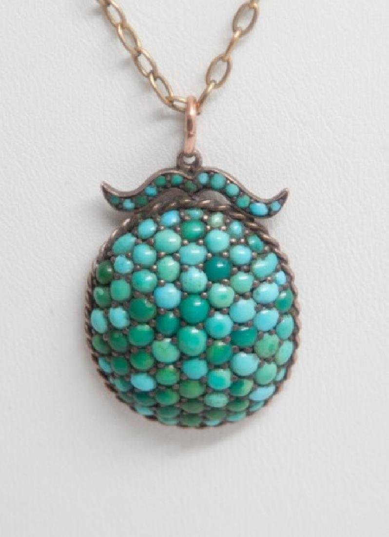 Antique Victorian Turquoise & 10kt Gold Necklace