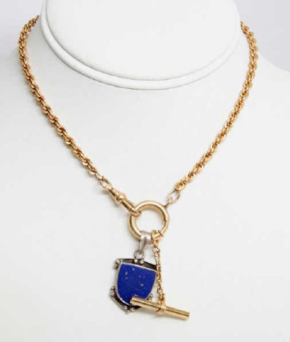 Estate Victorian Style Gold Watch Fob Chain w Fob