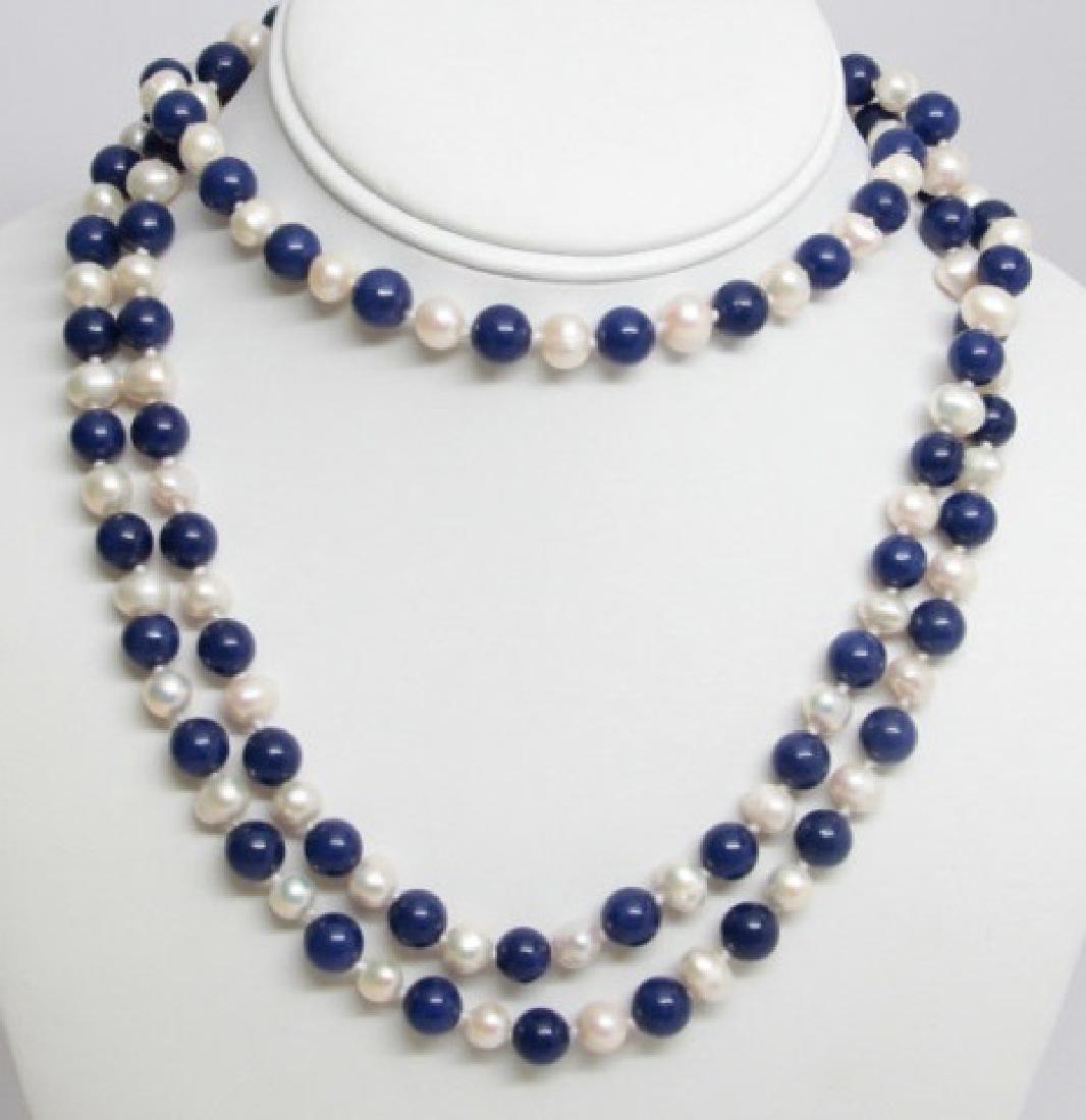 50 Inch Baroque Pearl & Lapis Lazuli Necklace