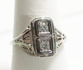Antique Edwardian 18kt White Gold & Diamond Ring