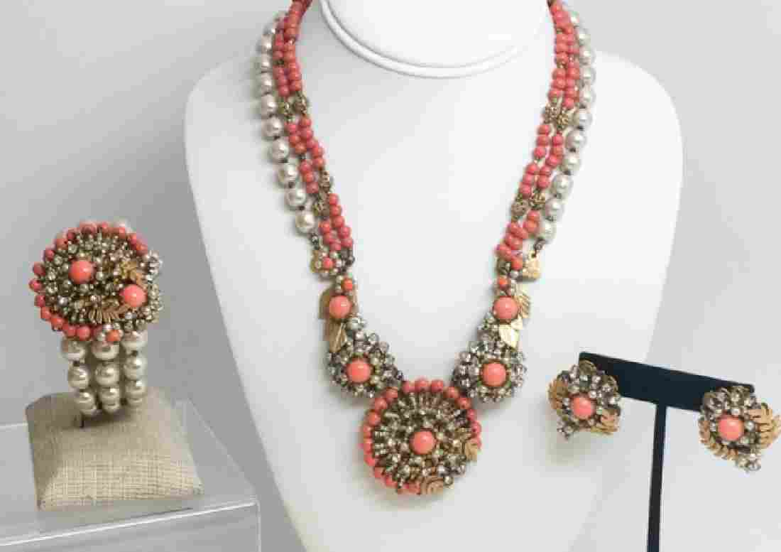 Vintage Faux Pearl Coral Signed Miriam Haskell Set