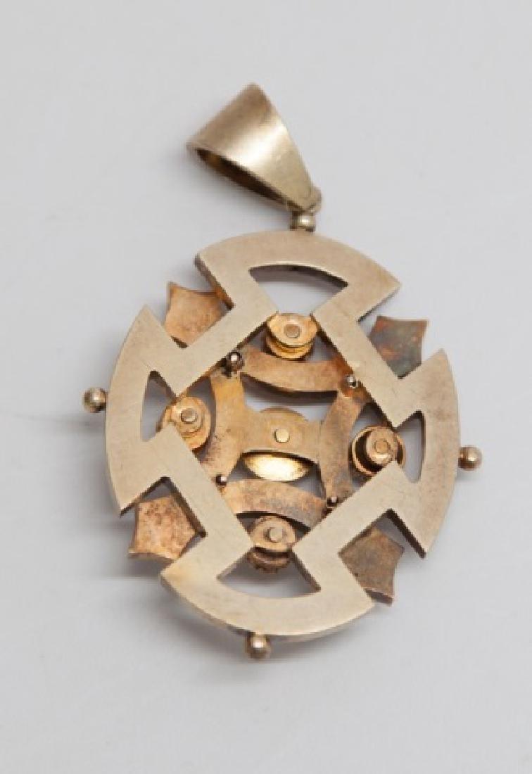 Antique Victorian 15kt Gold Enamel & Pearl Pendant - 2