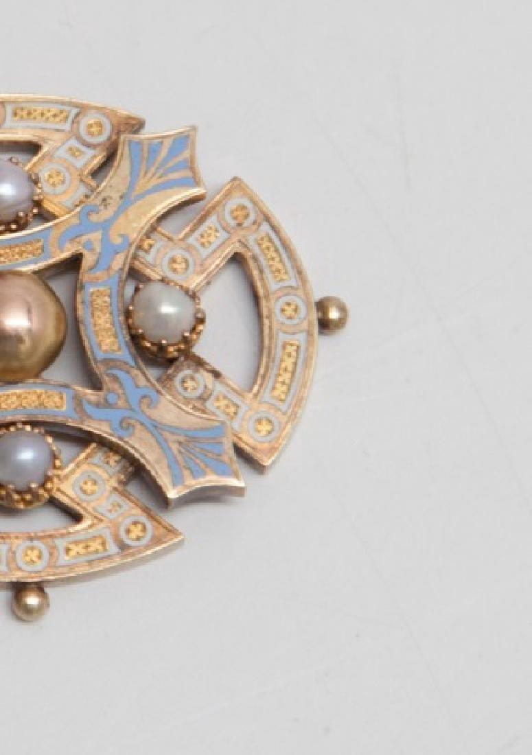 Antique Victorian 15kt Gold Enamel & Pearl Pendant - 3