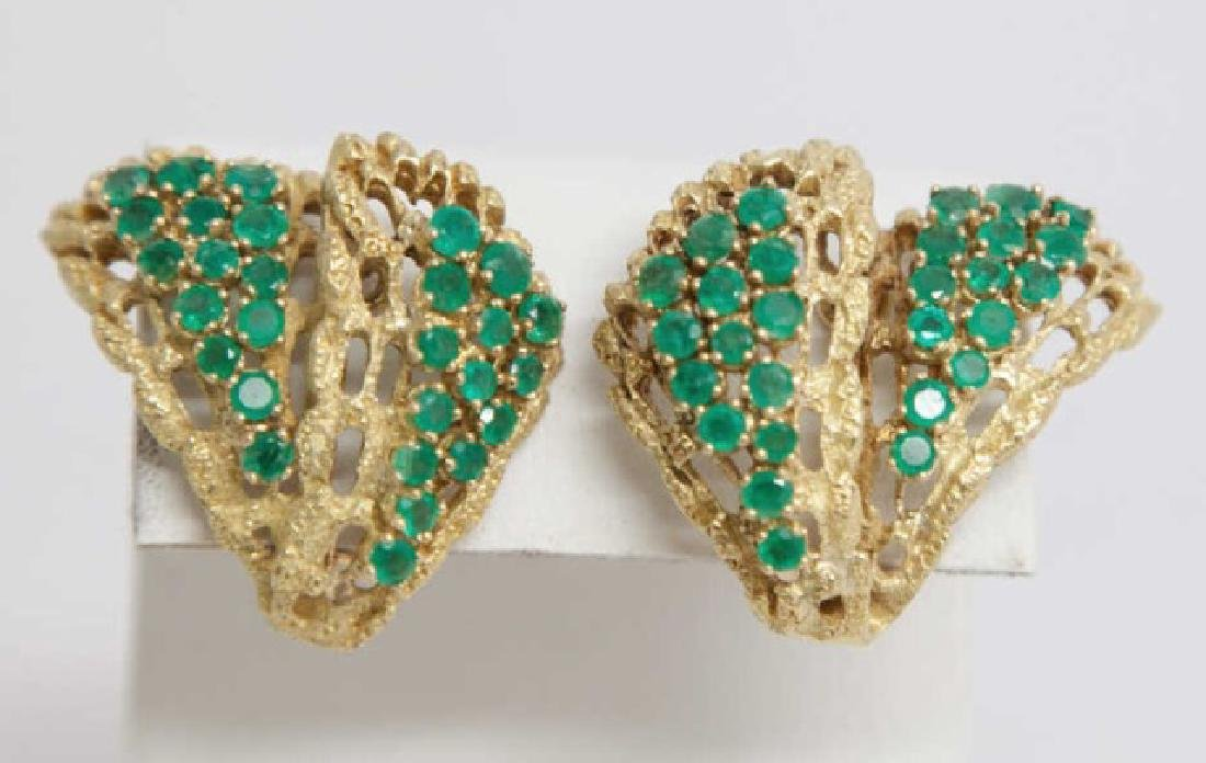 Estate Large 18kt Yellow Gold & Emerald Earrings