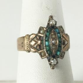 Antique Victorian 14kt Gold Turquoise Pearl Ring