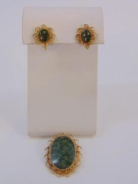 Estate Earring & Brooch Jade & Gold Filled Suite