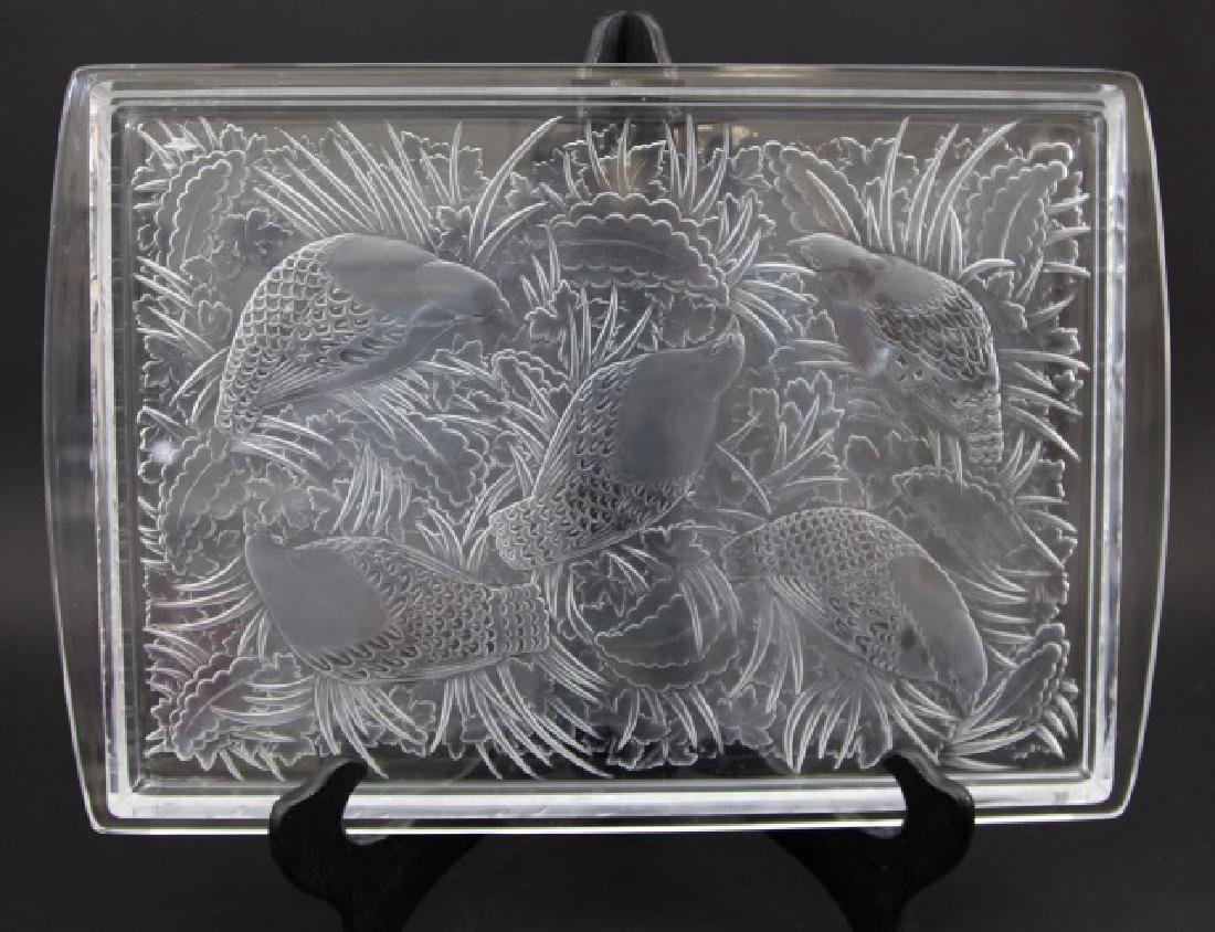 Massive Signed Lalique Frosted Crystal Tray Doves