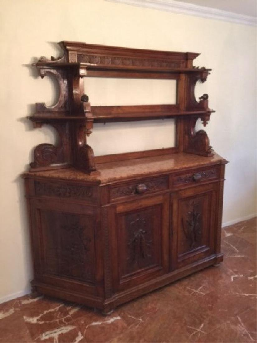 Antique Italian Hand Carved Buffet w Hutch Top