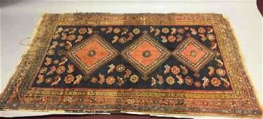 Antique Persian  Oriental Rug in Rust Red  Cream
