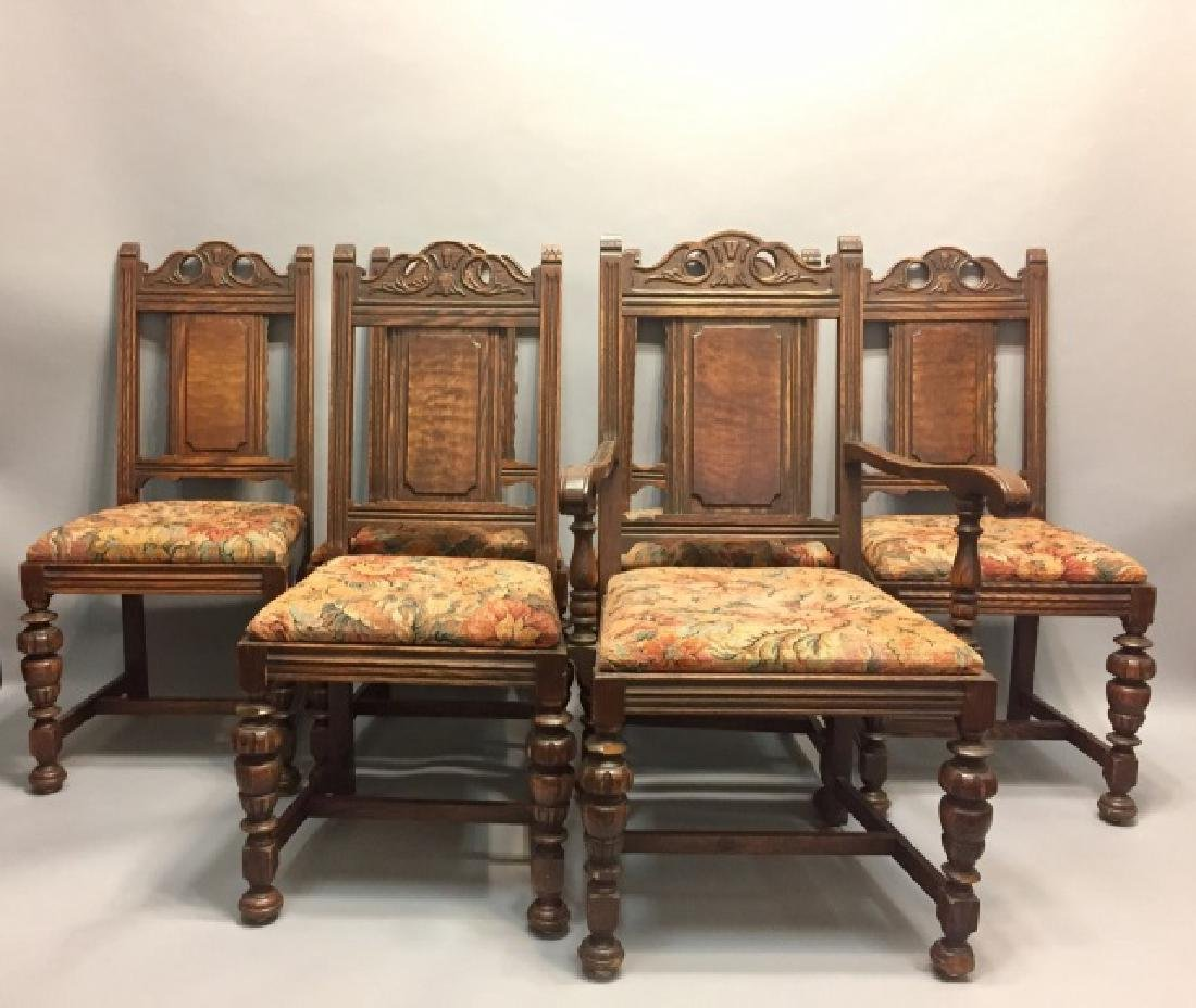 Five 1920's Tudor-Style Chairs with Tapestry Seats