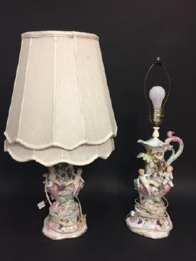 Pair Rococo Style Porcelain Table Lamps