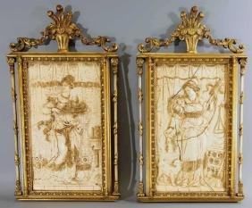Italian Neo Classical Gilt Framed Wall Plaques