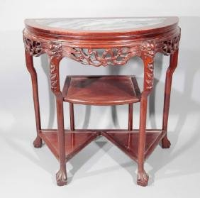 Antique Demi Lune Console Table w Marble Inset