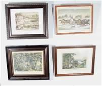 4 Currier  Ives Vintage Framed Prints