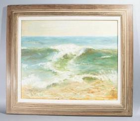 Signed & Dated Seascape Painting on Canvas