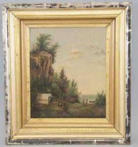 Antique Painting on Canvas of Lakeside Campsite