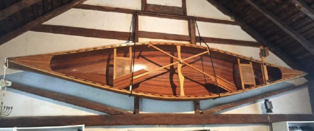 Handmade Carved Wood Prospector Style Canoe