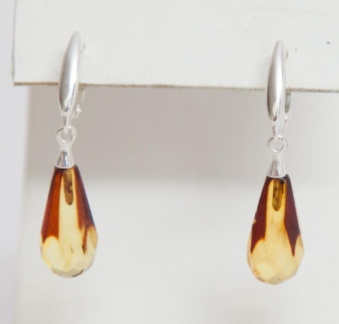 Pair Amber Tear Drop Earrings in Sterling Silver