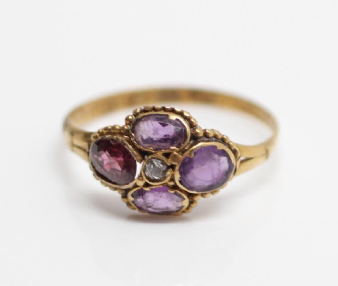 Antique 19th C English Victorian 12kt Diamond Ring