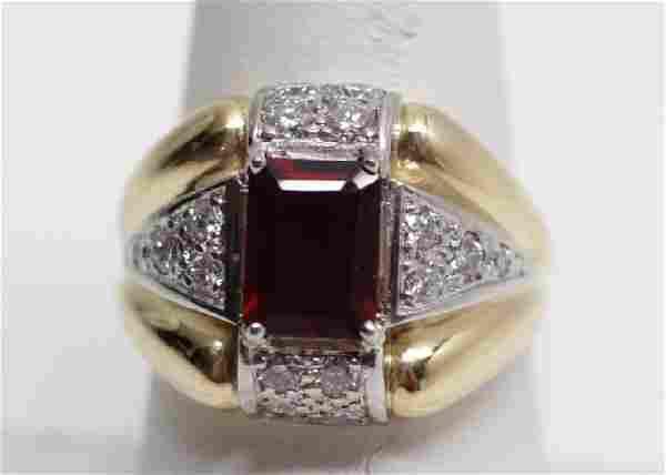Estate 18k Gold Art Deco Style Ruby & Diamond Ring
