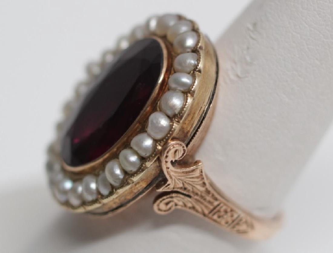 Estate Antique 19th C Garnet & Pearl 14kt Ring