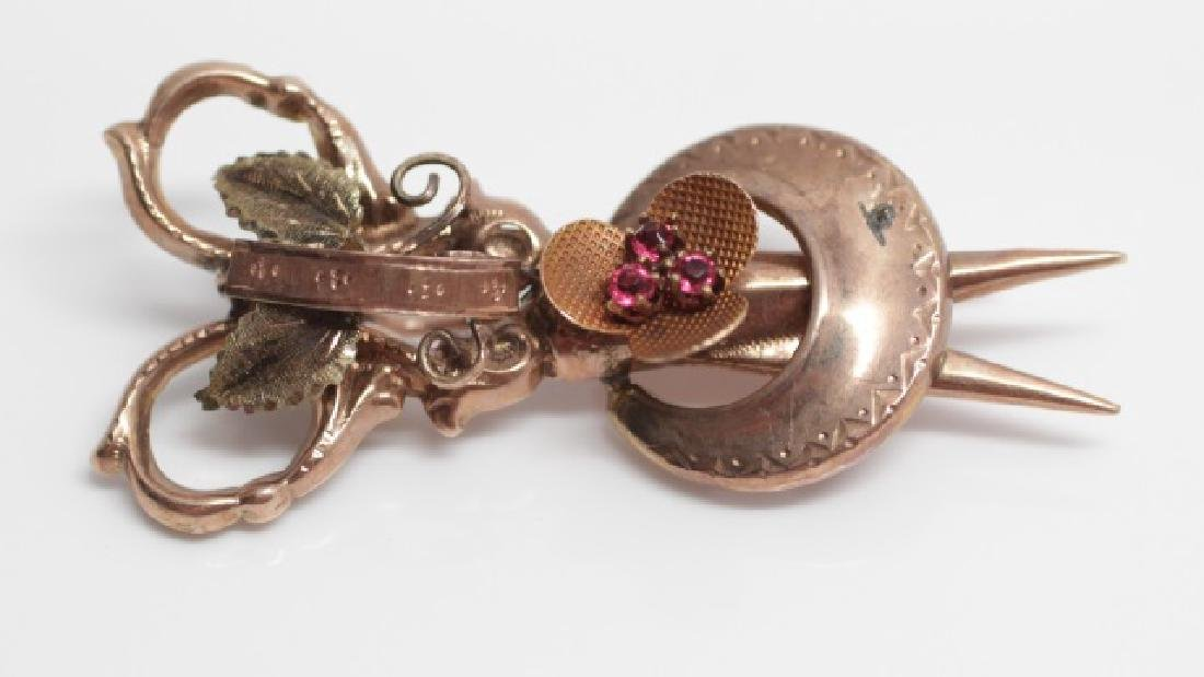 Estate Antique Victorian 10k Gold Scissor Brooch