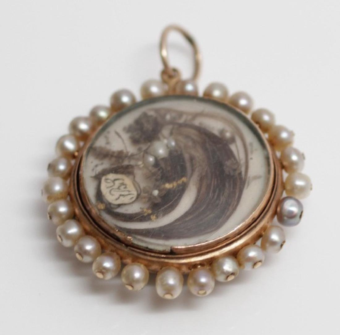 Antique 19th C Mourning Pendant Gold Hair & Pearls