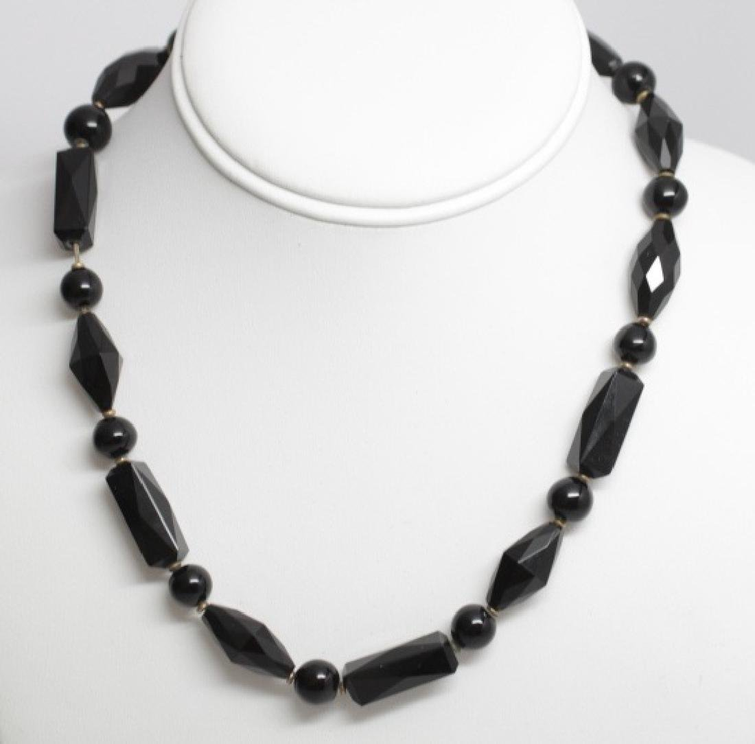 Antique 19th C Carved French Jet Necklace Strand
