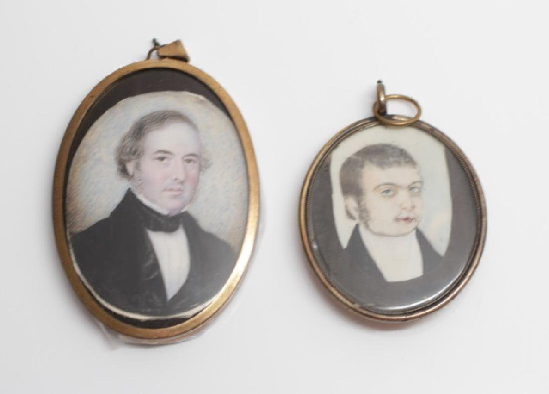 Two 19th C English Gold Filled Portrait Miniatures