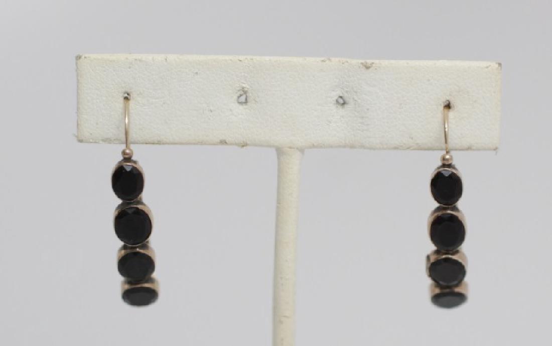 Pair Antique Georgian Gold & Onyx Hoop Earrings