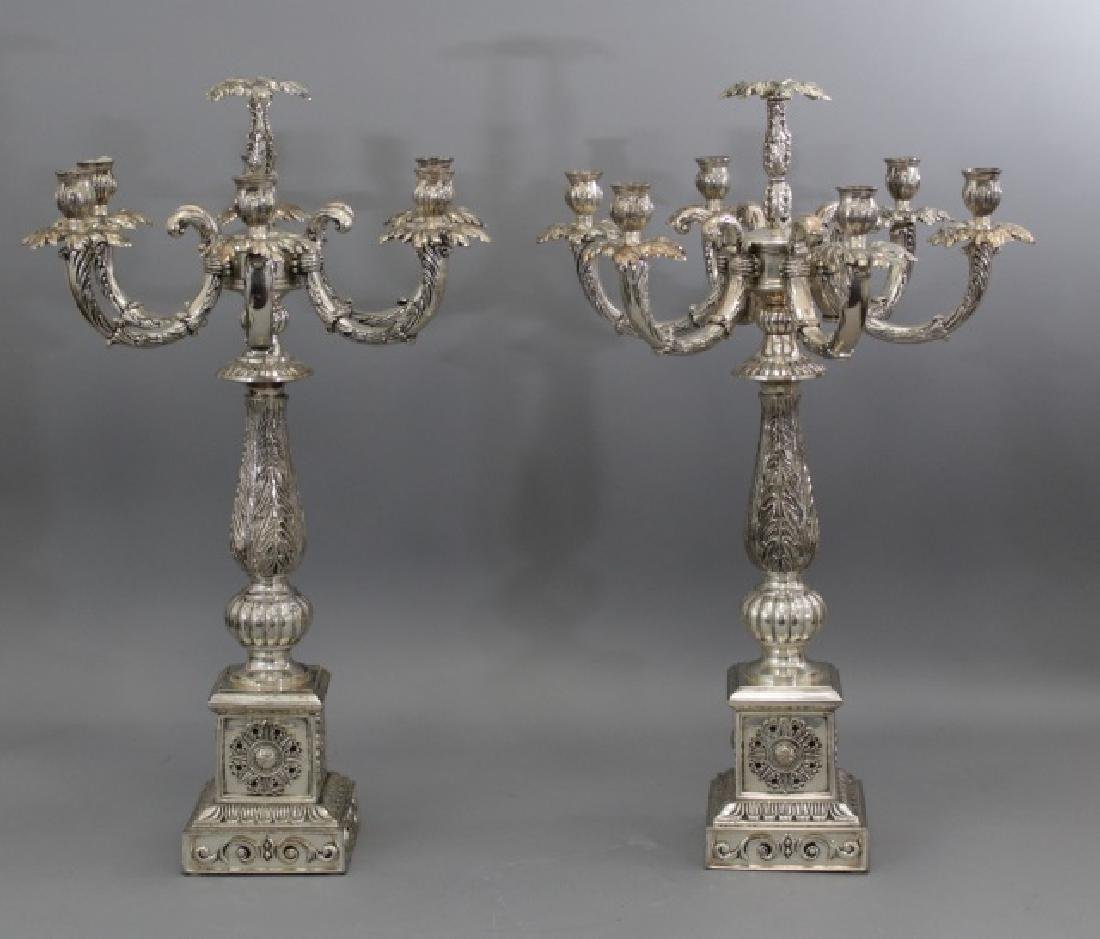 Large Pair Neo Classical Style Silver Candelabras