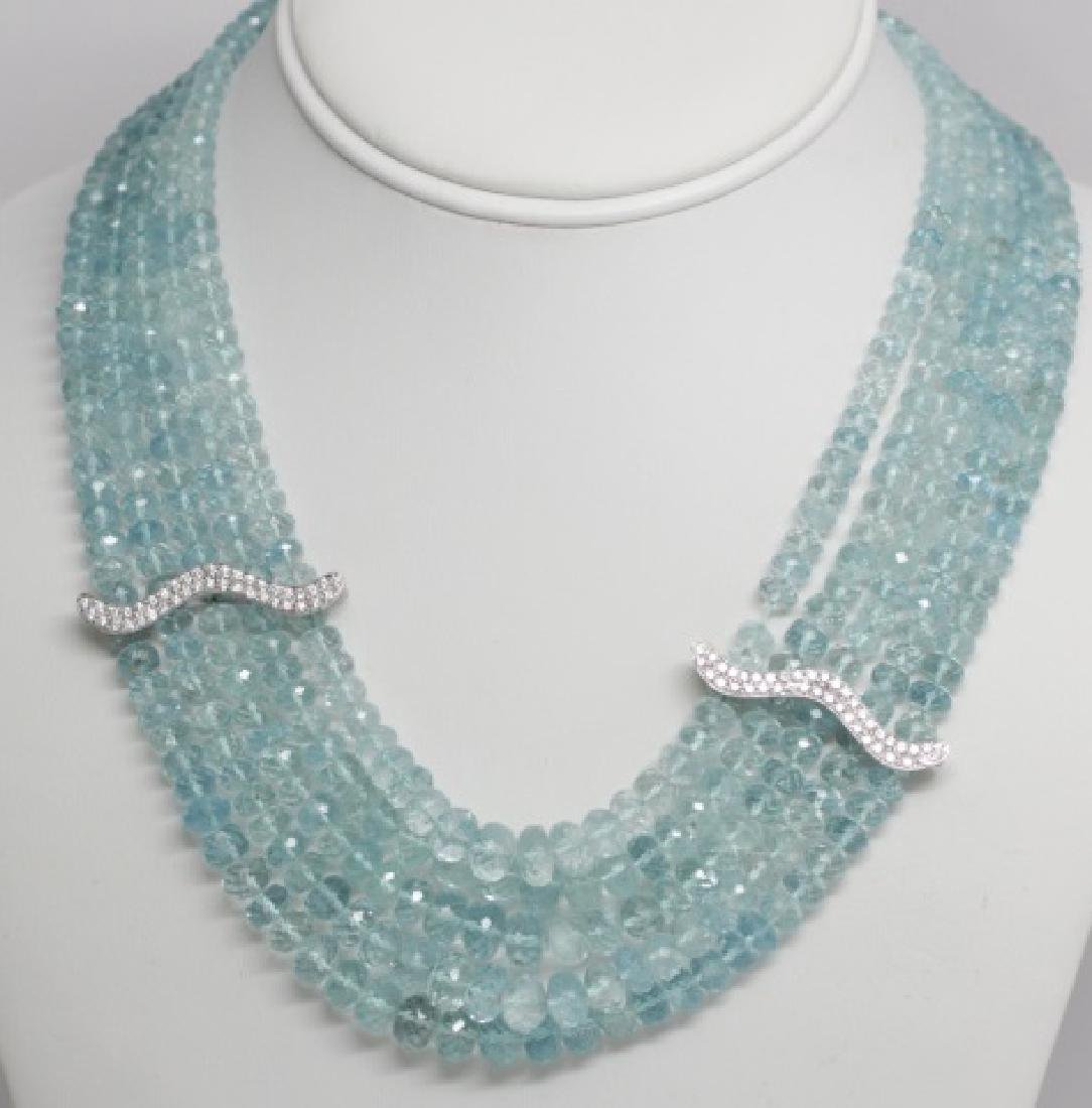 Impressive Aquamarine & Diamond 14kt Necklace