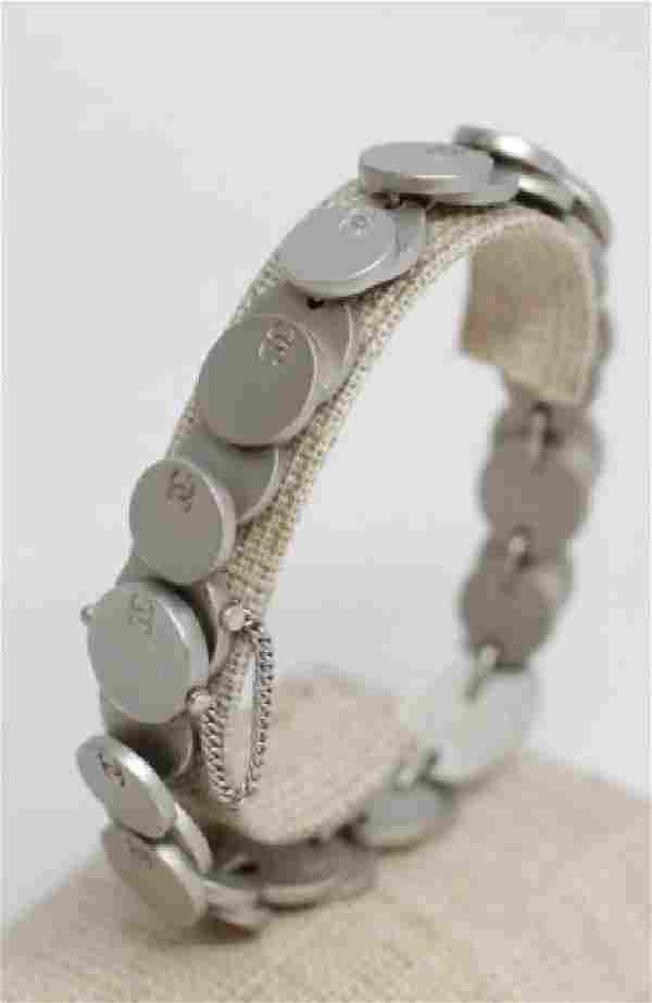 Vintage Chanel France Silver Tone Logo Bracelet