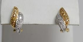 Pair of 18kt Gold White & Yellow Diamond Earrings