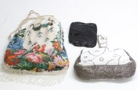 Group of 3 Antique Beaded Ladies' Purses Bags