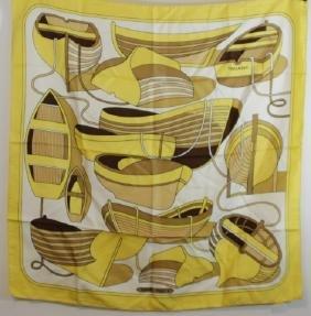 "Vintage Yellow Silk Scarf Hermes Paris ""Thalassa"""