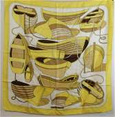 Vintage Yellow Silk Scarf Hermes Paris Thalassa