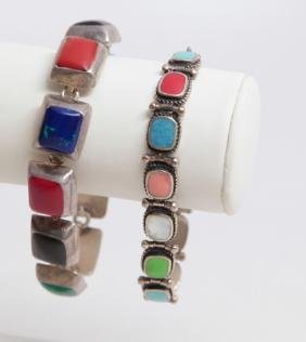 Mexico & Native American Sterling Stone Bracelets