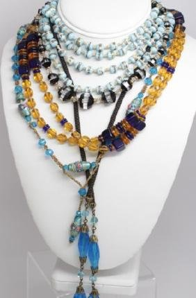Collection of Five Vintage Flapper Style Necklaces