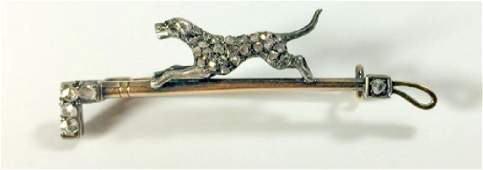 Fine Antique Victorian Diamond & Gold Dog Brooch