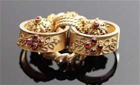 19th C Victorian Gold Filled Pin Bohemian Garnets