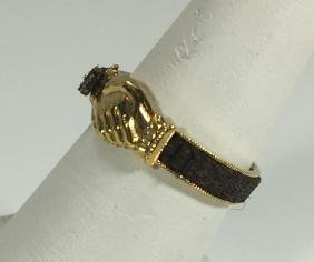 Antique Victorian Fede Mourning 14kt Gold Ring