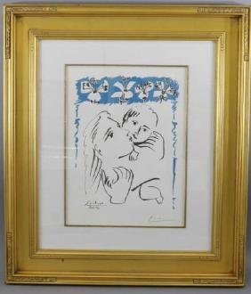 Pablo Picasso Color Lithograph of Mother & Child