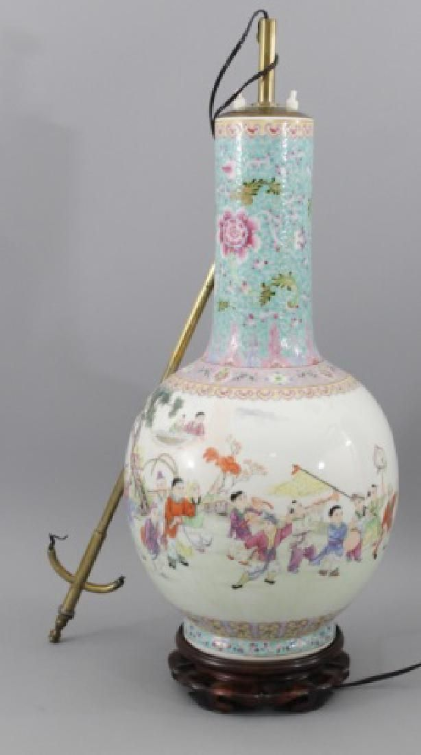 Antique Chinese Large Vase Electrified as Lamp