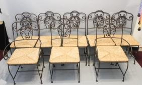 Set of 8 Iron & Rush Dining Room Chairs