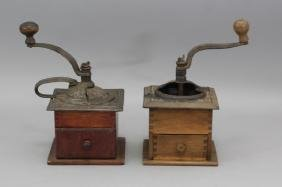 Pair Early 20th C Cast Iron & Wood Coffee Grinders